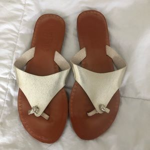 Gold and camel sandals 7